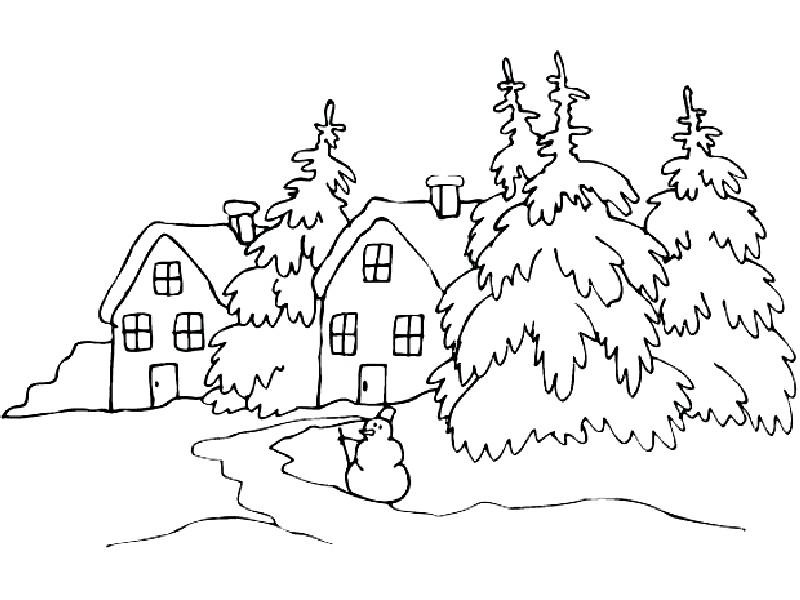 Раскраска зимний пейзаж
