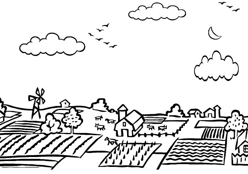 Раскраска деревенский пейзаж