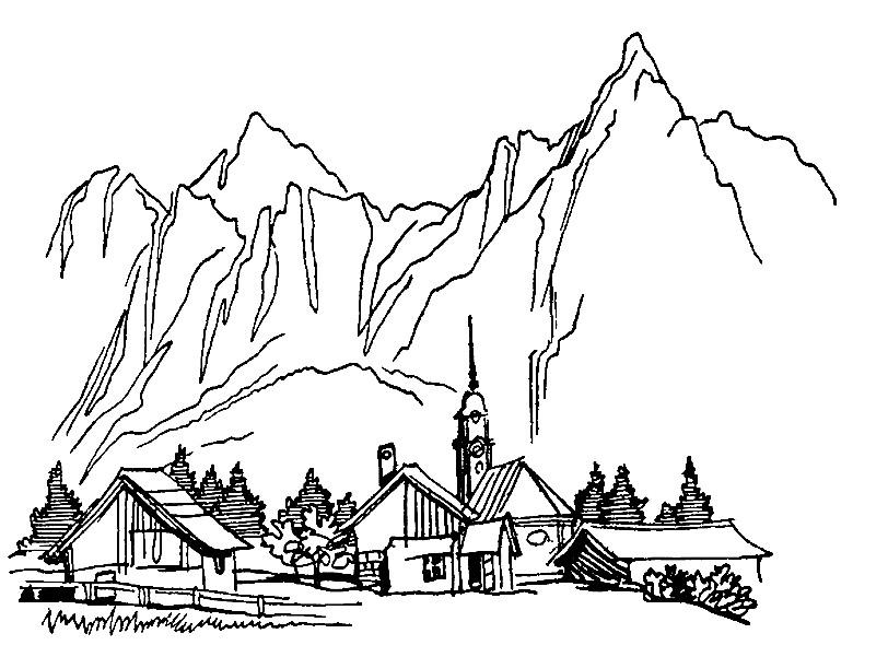 Раскраска горное селение