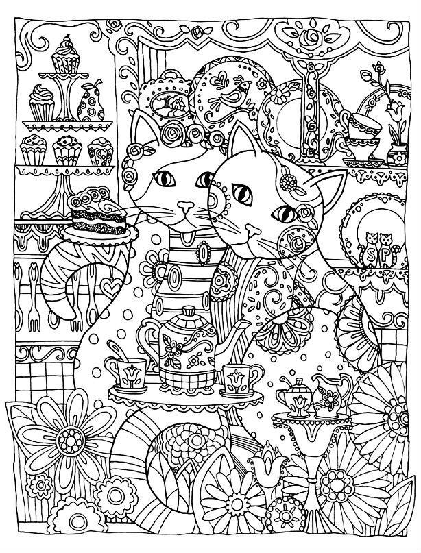 Раскраска кошачье чайпитие