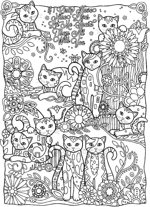 Раскраска кошачья страна