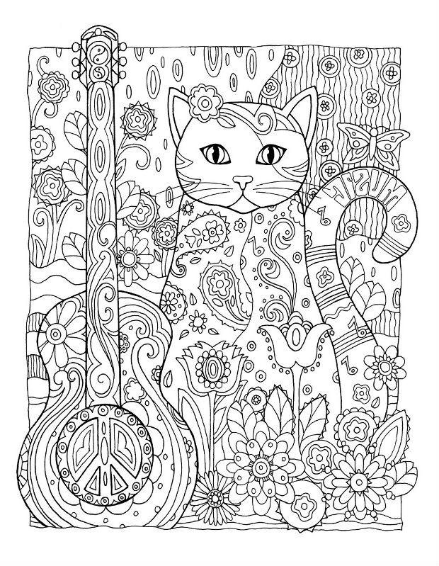 Раскраска музыкальная кошечка