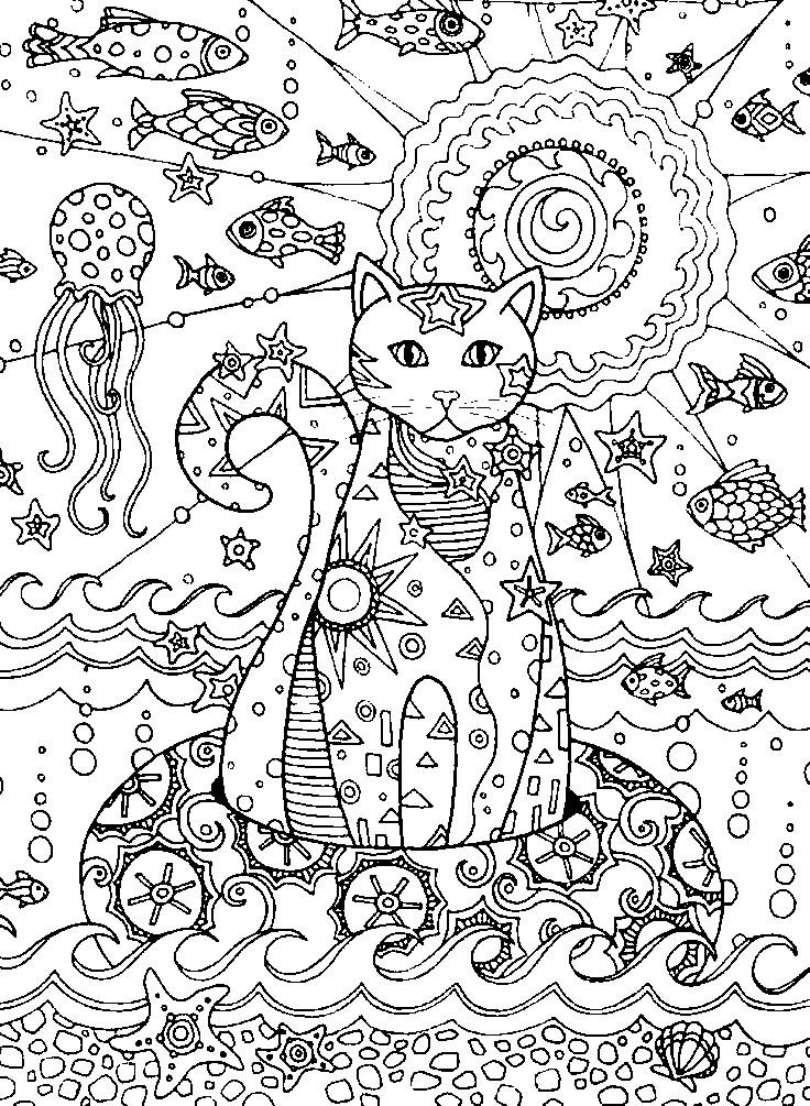 Раскраска кошка и морские обитатели