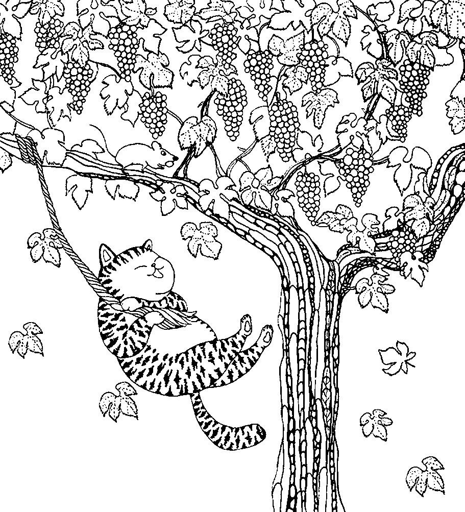 Раскраска кот на виноградном дереве