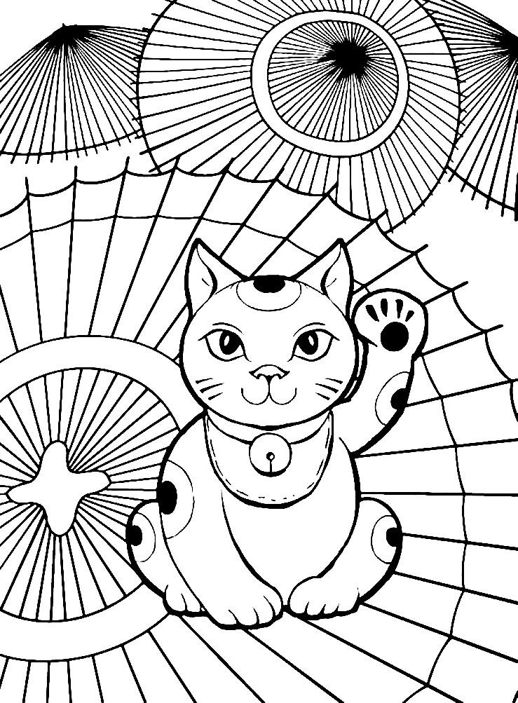 Раскраска котенок и Китайские зонтики