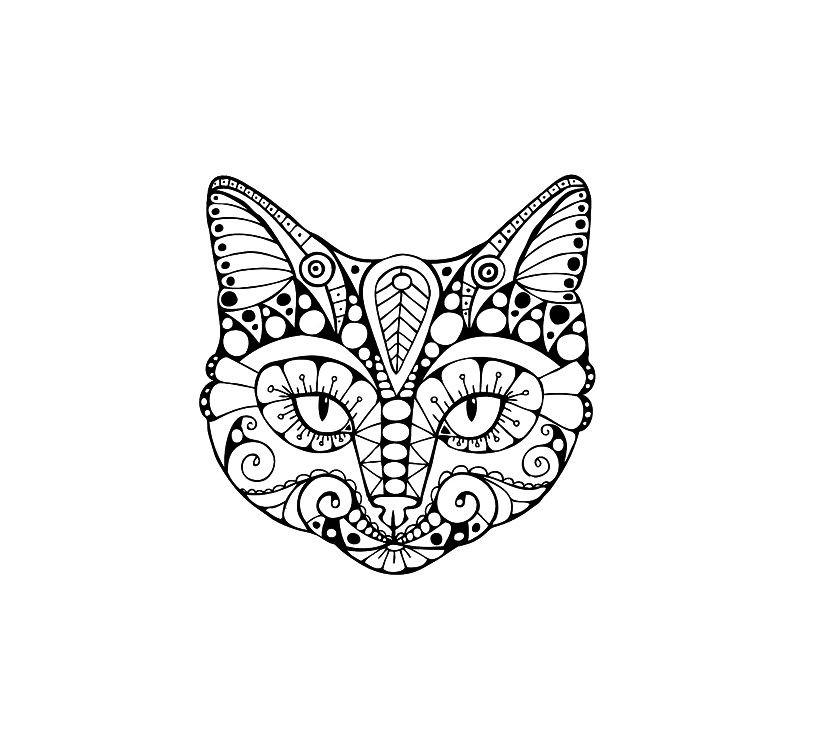 Раскраска кошачья мордочка