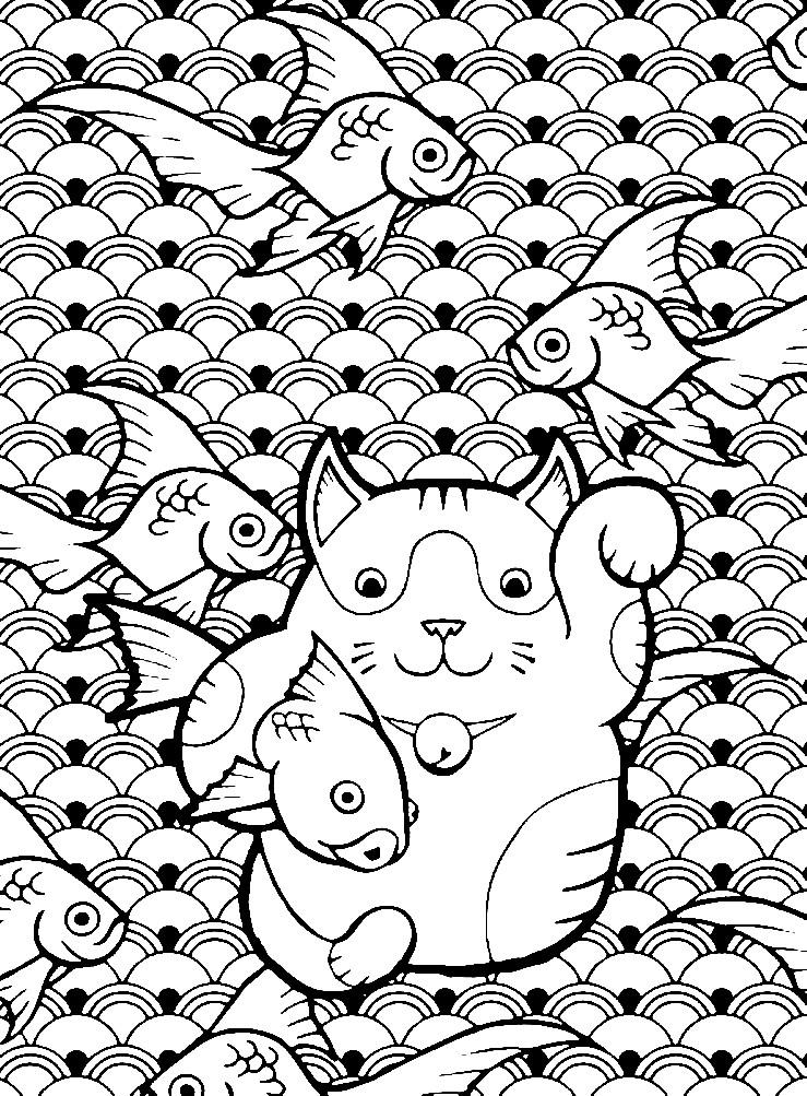 Раскраска котик с рыбками | Раскраски для детей ...