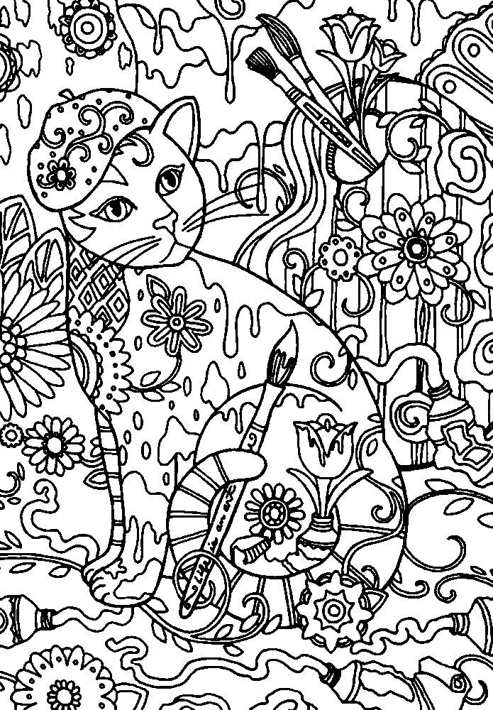 Раскраска кот художник