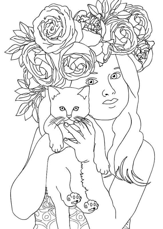 Раскраска девочка с котенком