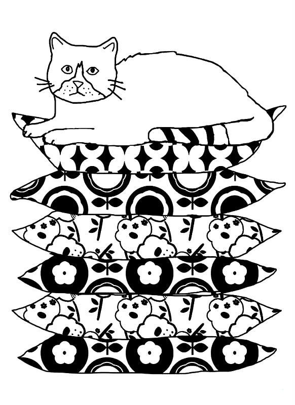 Раскраска кот на подушках