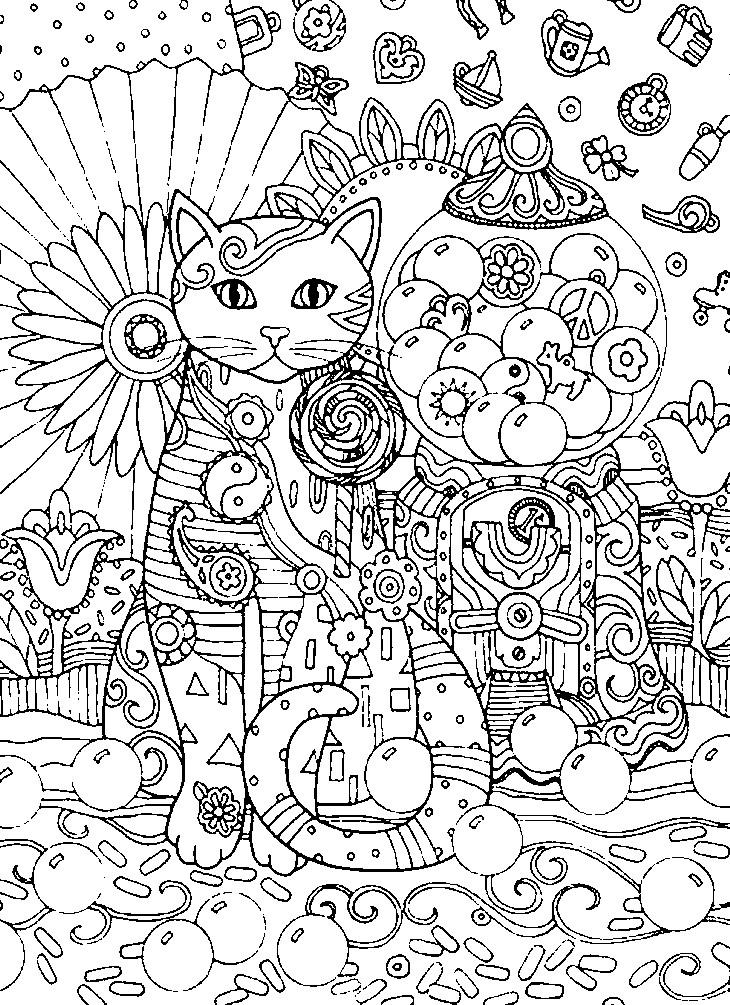 Раскраска кошка арт дизайн