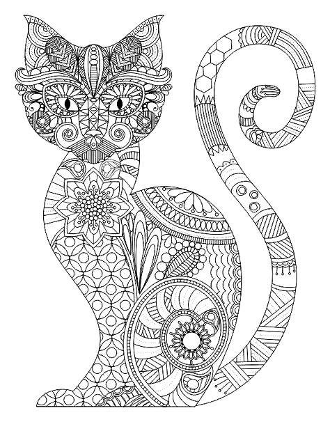 Раскраска кот с узором