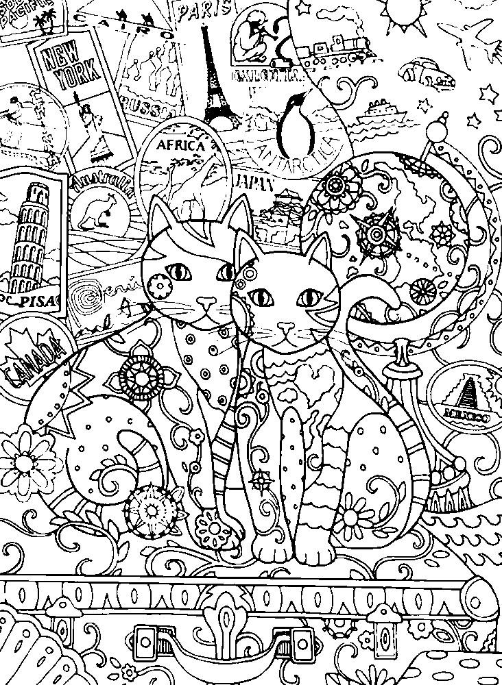 Раскраска коты путешественники