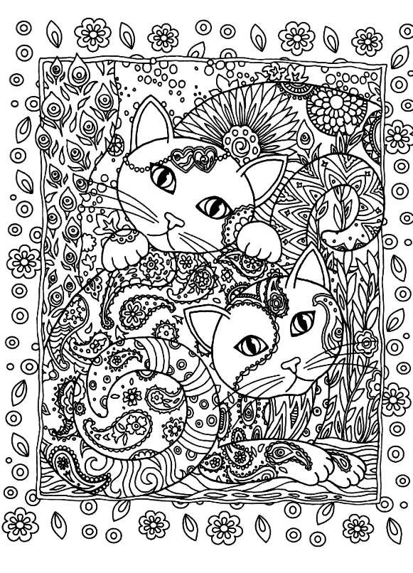 Раскраска два котенка