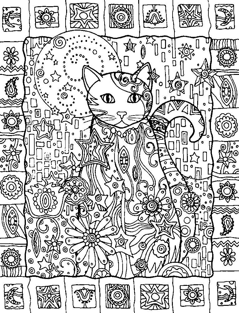 Раскраска кошка и цветы