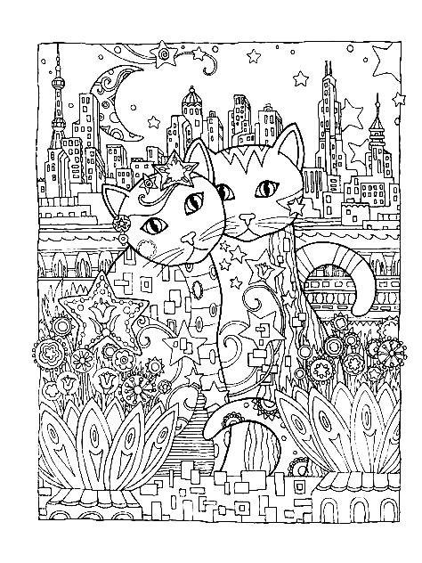 Раскраска кот с кошкой