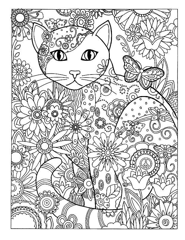 Раскраска красивая кошка в цветах