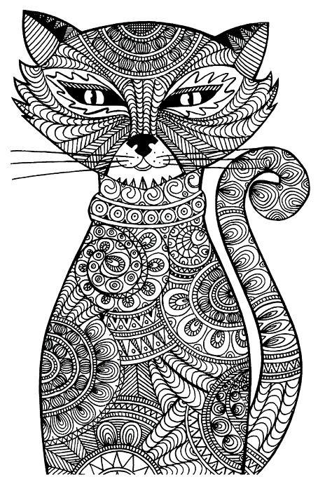 Раскраска кот вдохновение