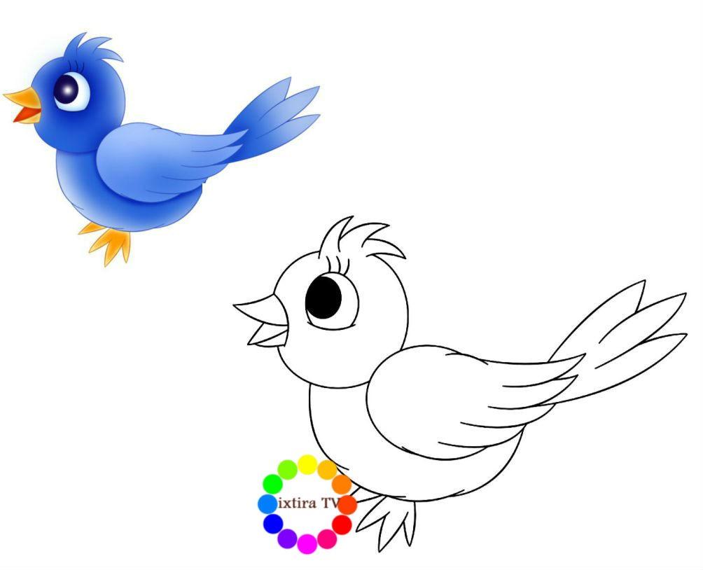 Раскраска птичка по образцу