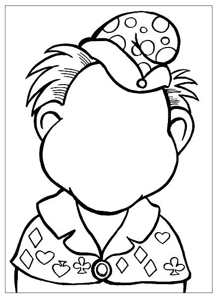 Раскраска дорисуй портрет клоуна