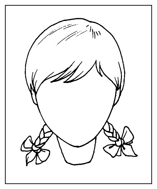Раскраска девочка с двумя косичками