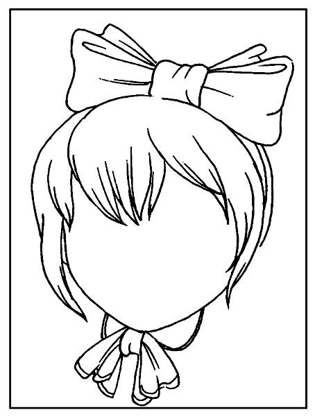 Раскраска дорисуй девочку с бантиком