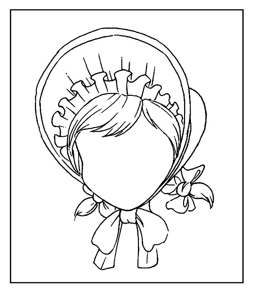 Раскраска дорисуй портрет девочки в чепчике