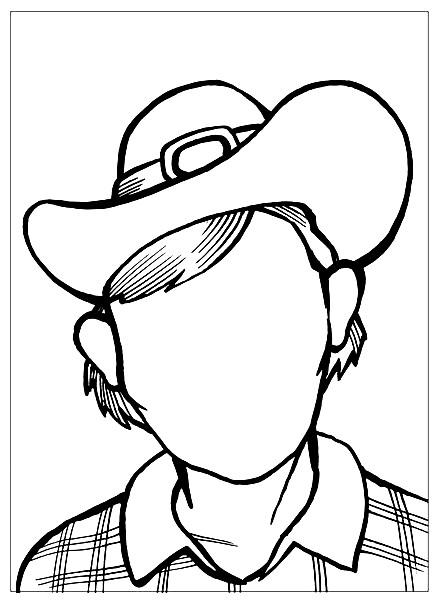 Раскраска дорисуй портрет ковбоя