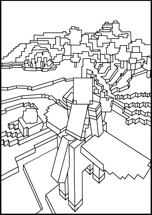 Раскраска мир Майнкрафта