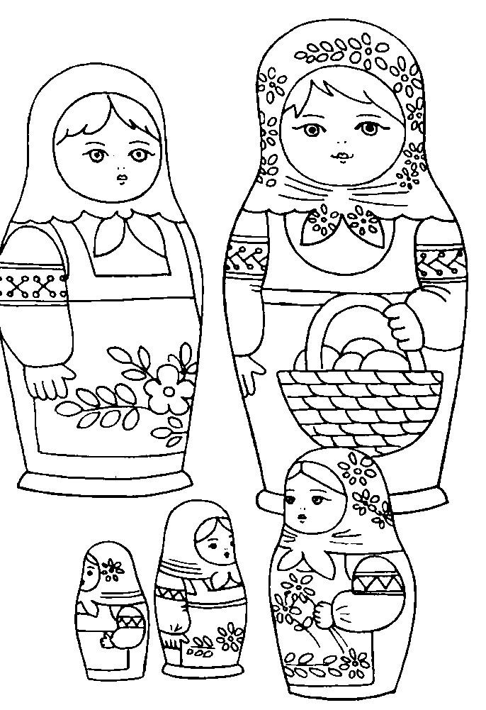 Раскраска матрешки в разных нарядах