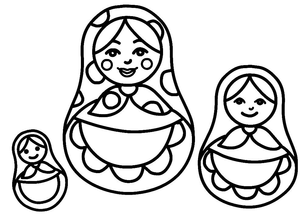 Раскраска семейство матрешек