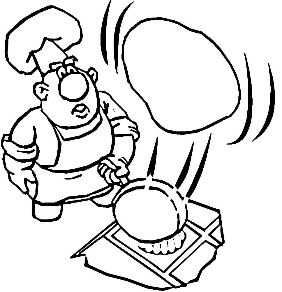 Раскраска повар готовит блины