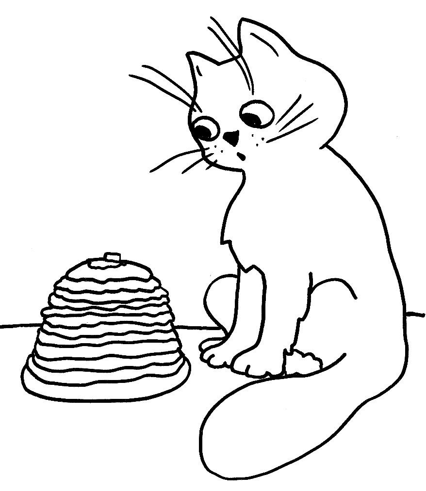 Раскраска кот облизывается на Масленичные блины