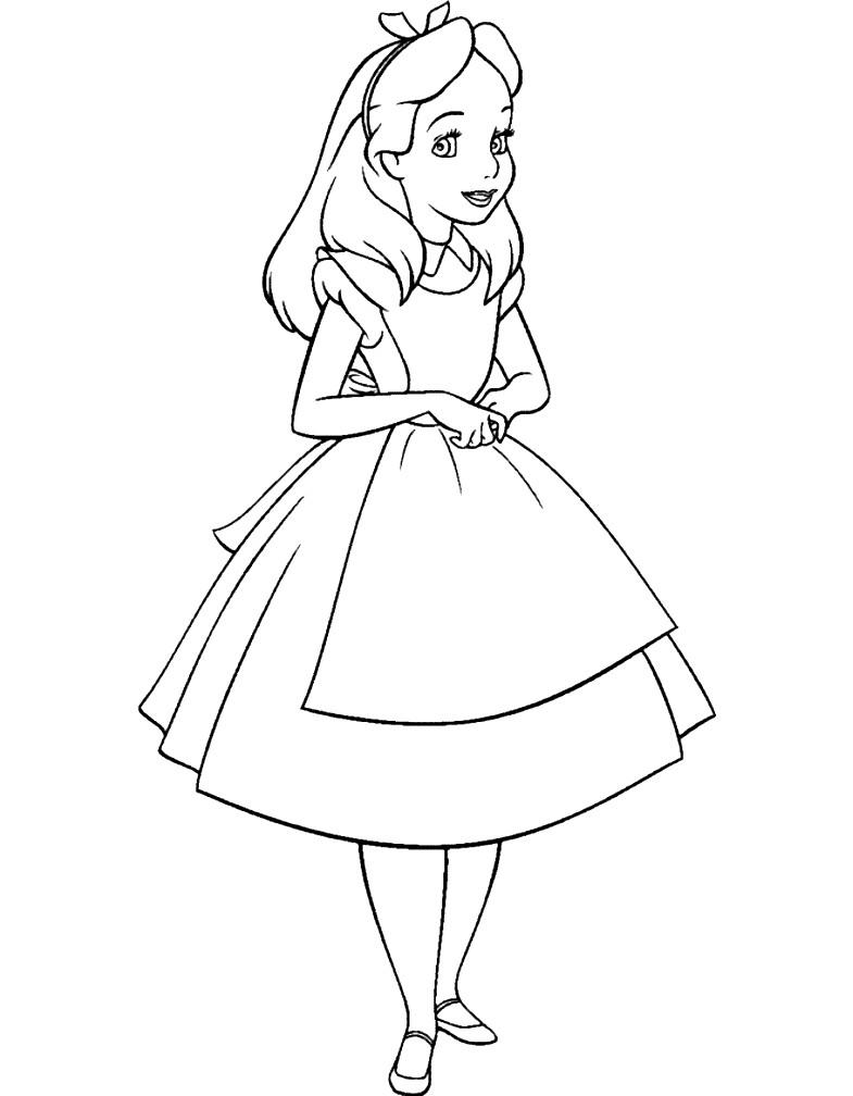Раскраска Алиса в стране чудес из мультика
