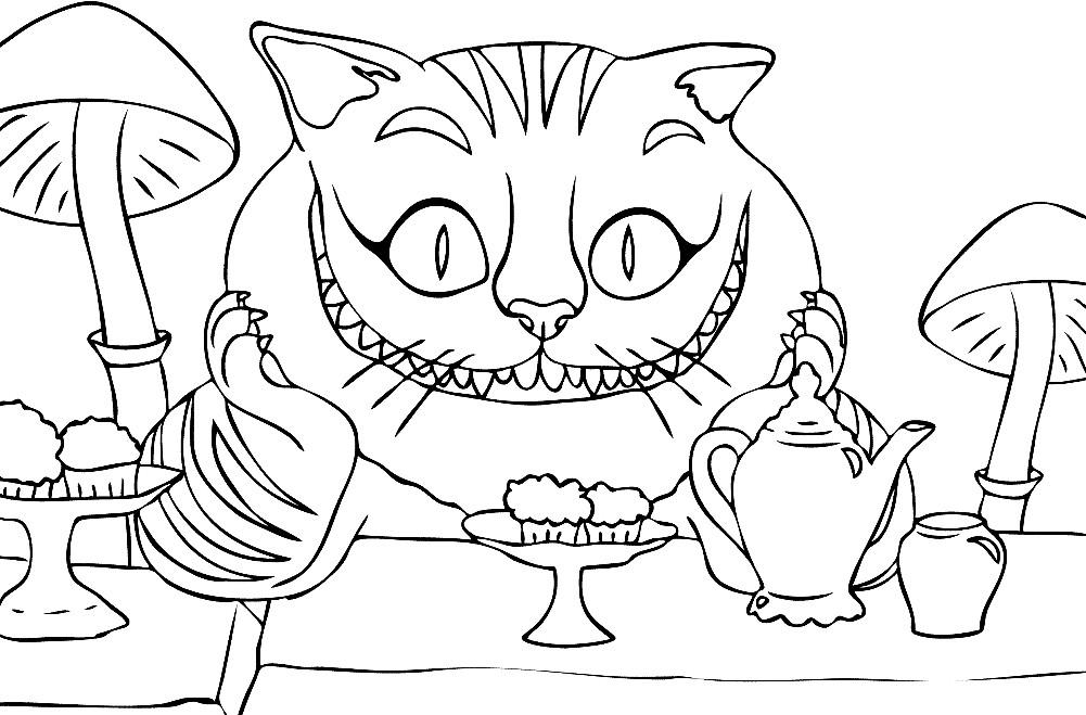 Кот из алисы в стране чудес раскраска