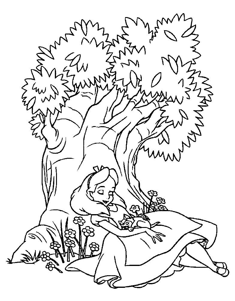 Раскраска Алиса отдыхает под деревом