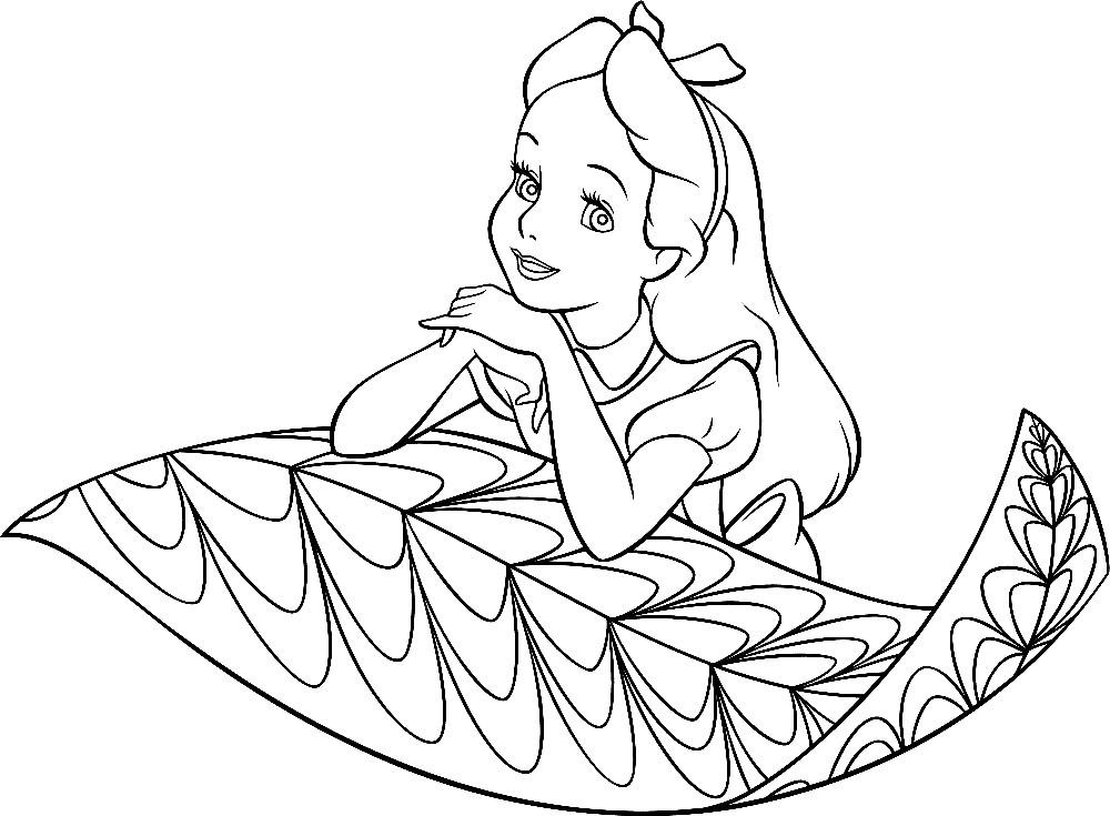 Раскраска Алиса мечтает