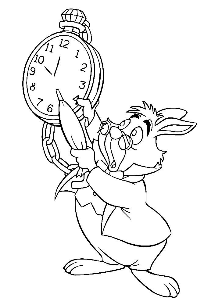 Раскраска кролик опаздывает на чай