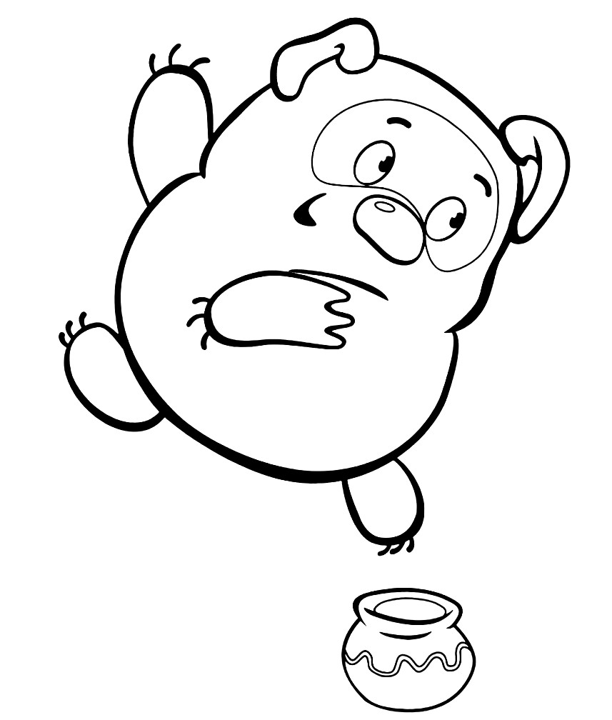 Раскраска Винни Пух и горшочек меда