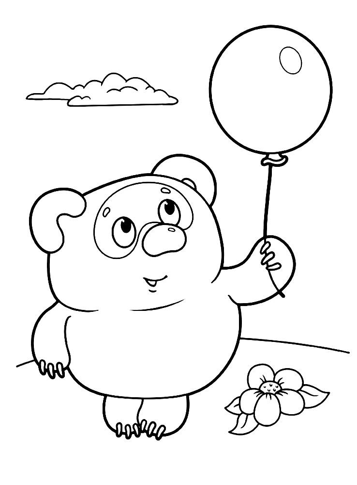Раскраска Винни Пух с шариком | Раскраски для детей ...