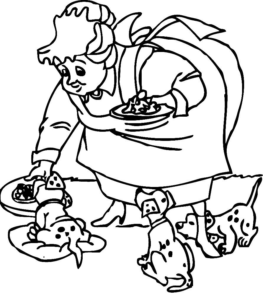 Раскраска далматинцы лакомятся кормом