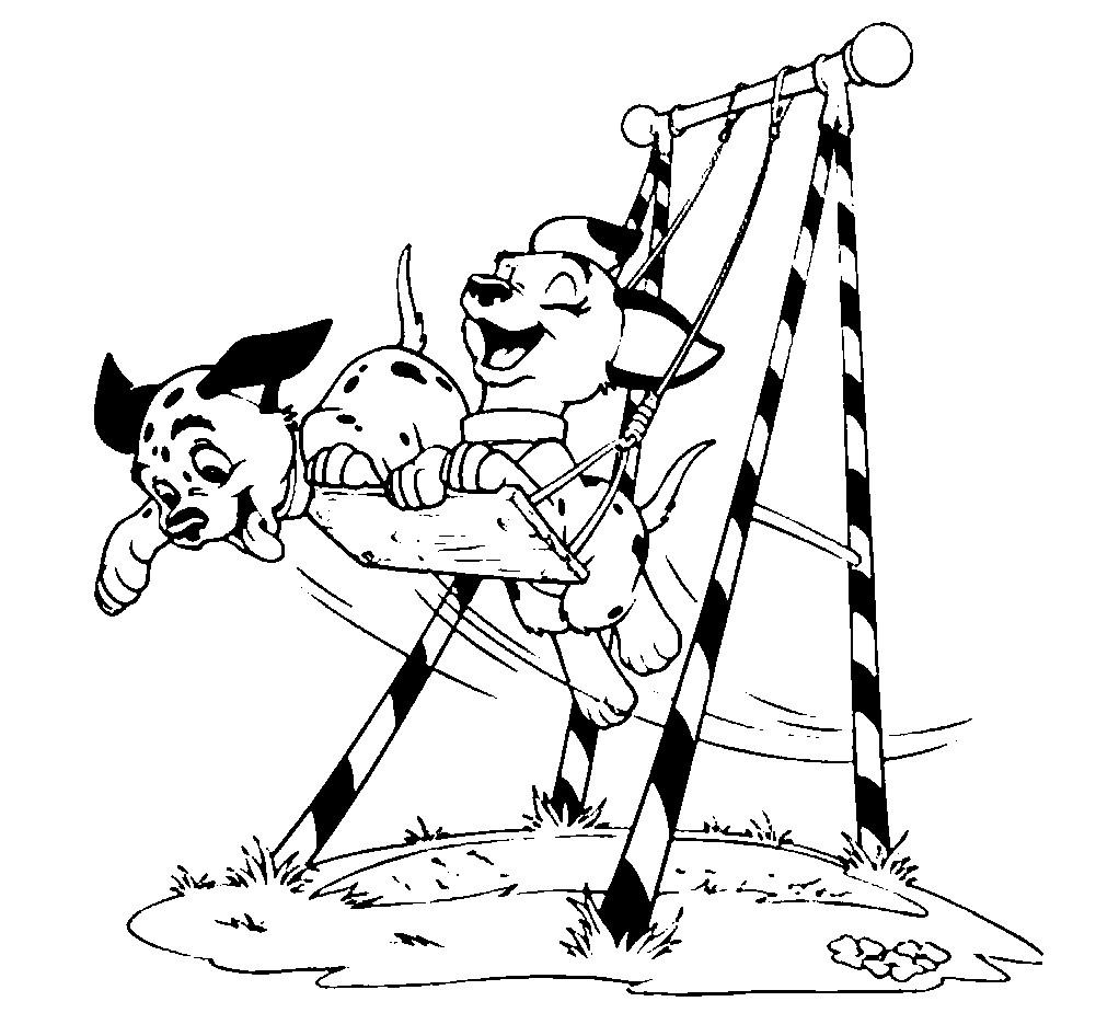 Раскраска далматинцы катаются на качелях