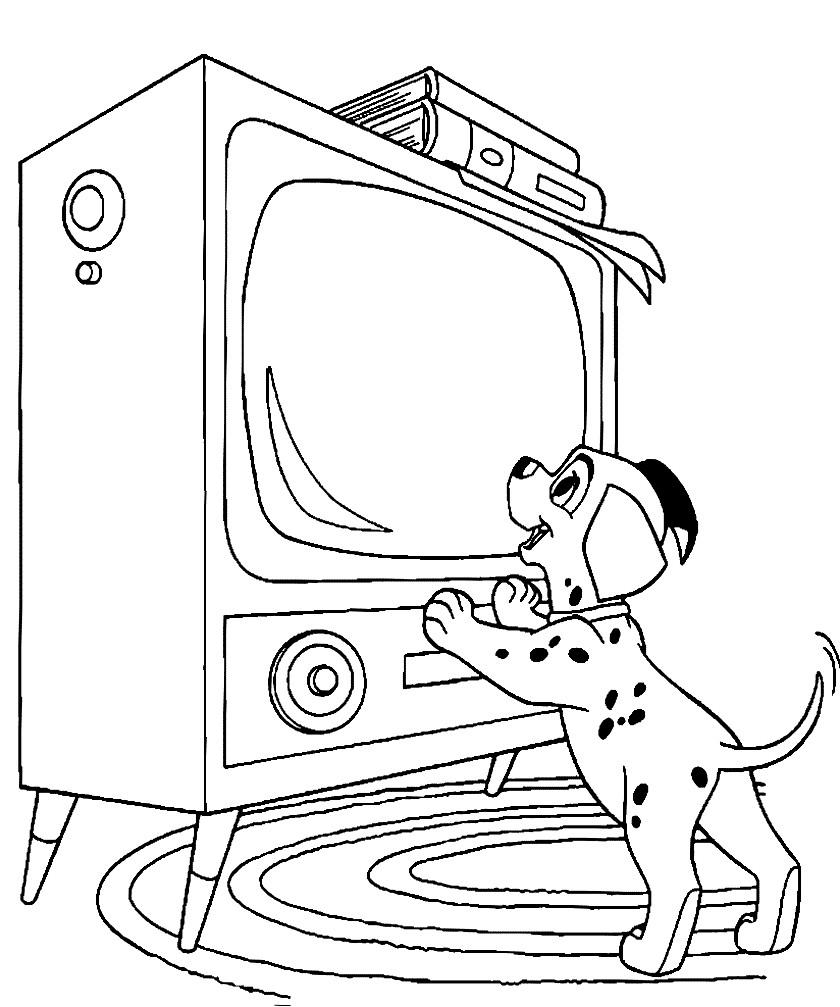 Раскраска маленький далматинец смотрит телевизор