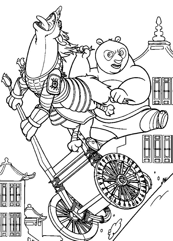 Раскраска Кунг Фу Панда ловит злодея