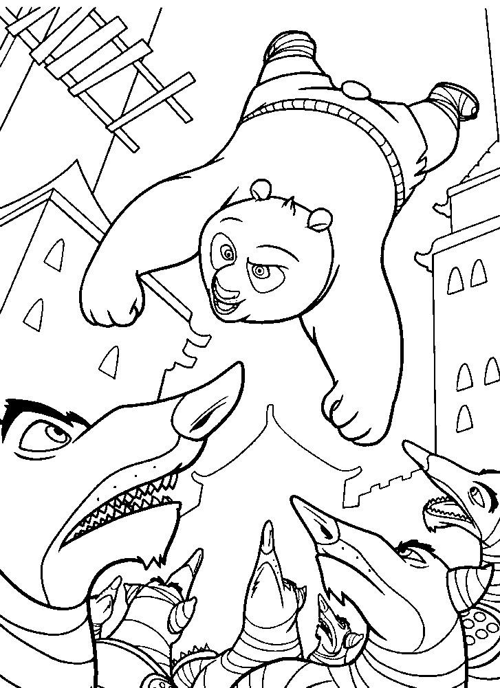 Раскраска Кунг Фу Панда и злые волки