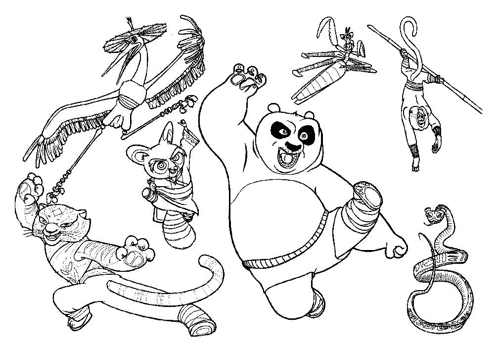 картинки кунг-фу панда раскраска заварной крем станет