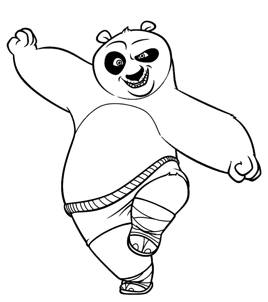 Раскраска панда По