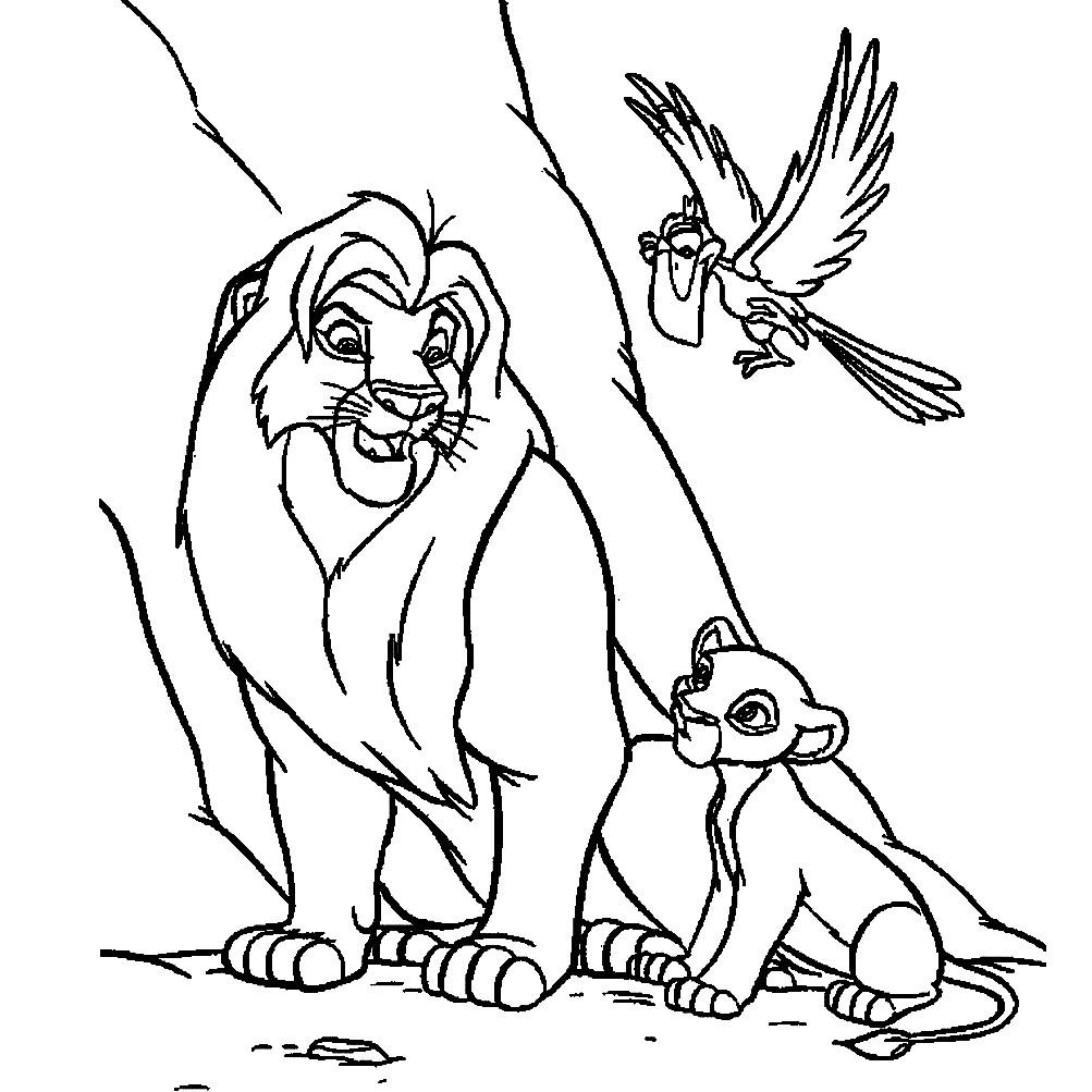 Раскраска Симба с отцом