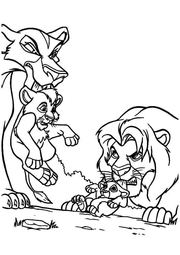 Раскраска Муфаса и детеныши