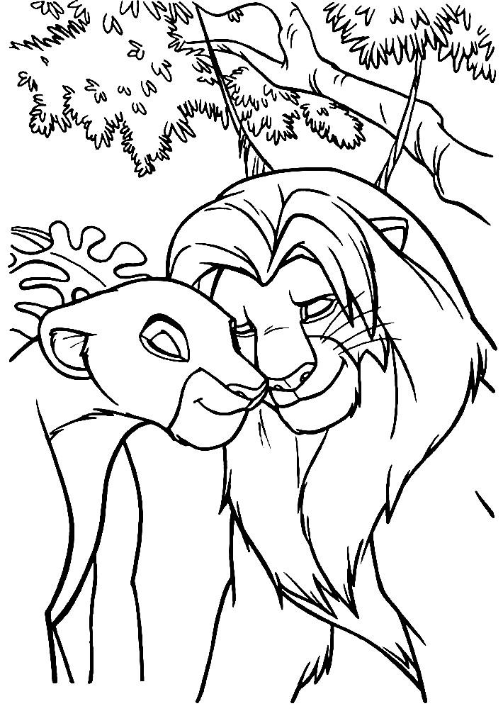 Раскраска взрослый Симба и Нала